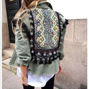 Zara Pom Pom Beaded Utility Jacket